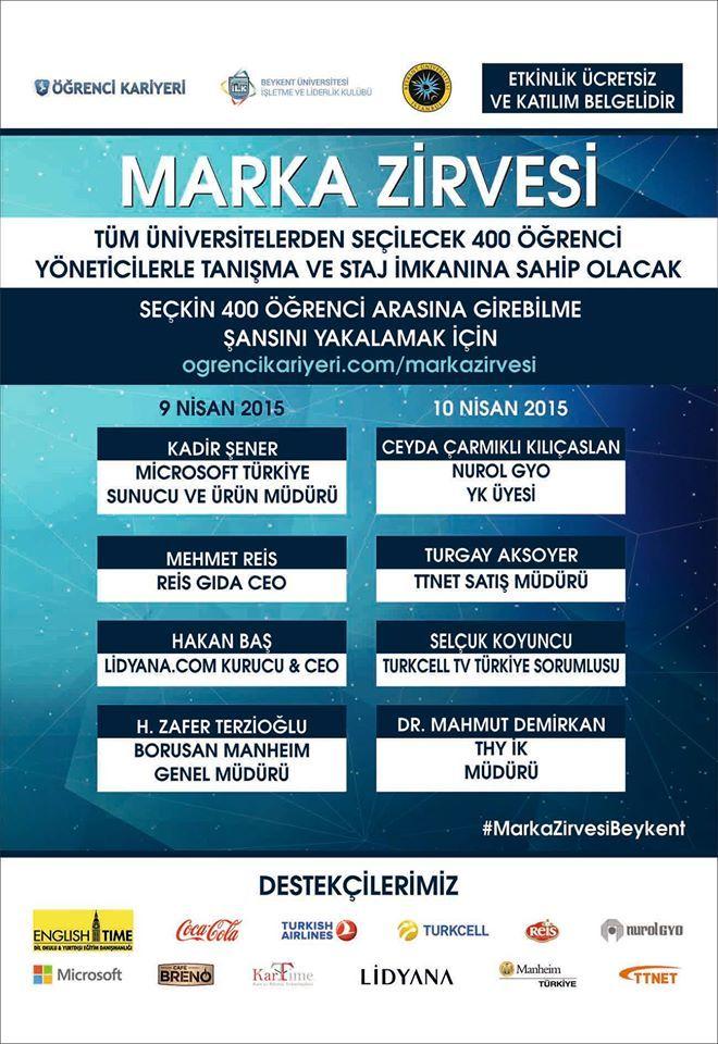 Bey kent Üniversitesi MARKA ZİRVESİ 9 NİSAN