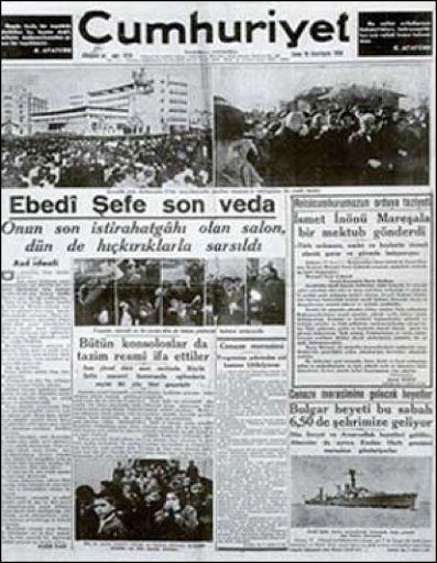 10 Kasim 1938 - Gazete Mansetleri 10.11.2014