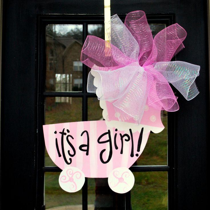 Girl Hospital Door Decoration, Baby Carriage, Baby Girl Door Hanger, Custom Baby Door Hanger. $45.00, via Etsy.