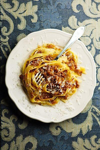 Tagliatelle di Farro con Sugo di Scalogno e Strolghino [Farro Grain Tagliatelle with Shallot and Fresh Salami Sauce] by Alessandro Guerani