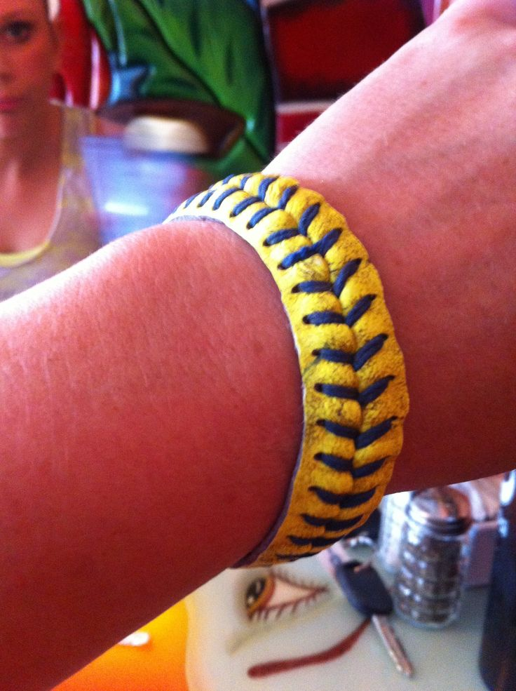 Bracelet I made from a softball!