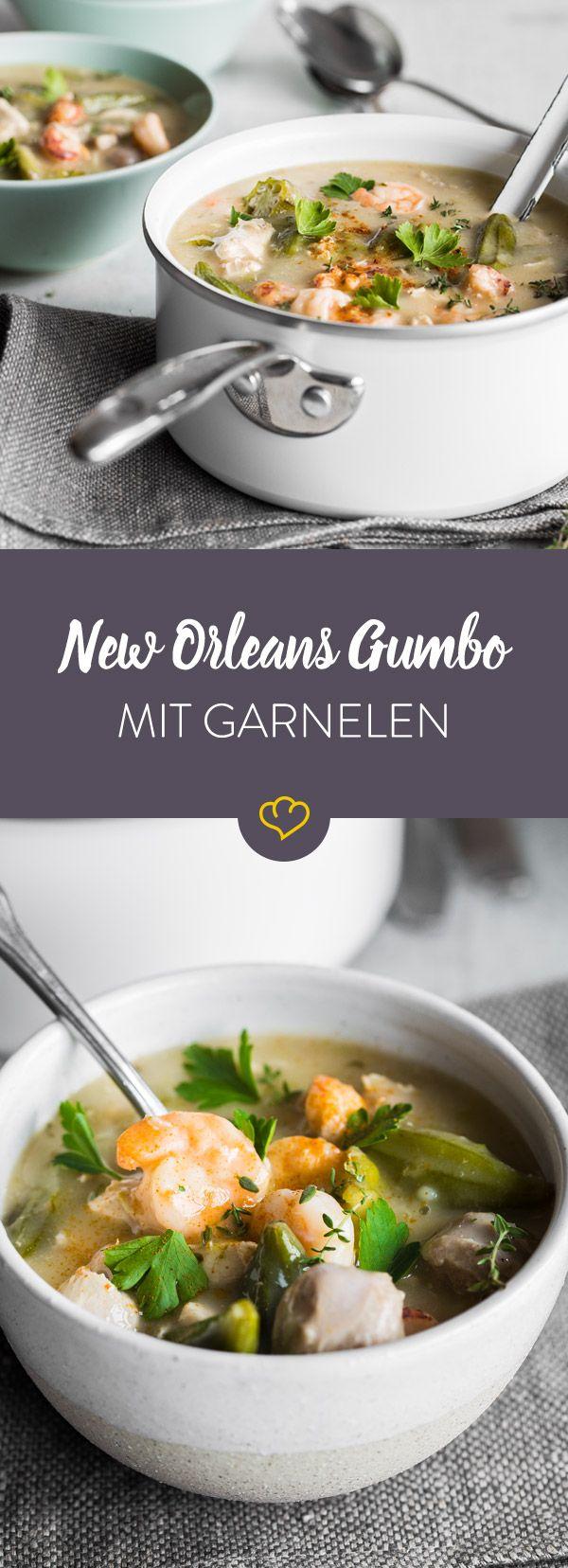 New Orleans Gumbo ist ein deftiger amerikanischer Eintopf mit Garnelen, Austern, Hähnchen, Bratwurst, Gemüse, Gewürze und einer Mehlschwitze. So köstlich!
