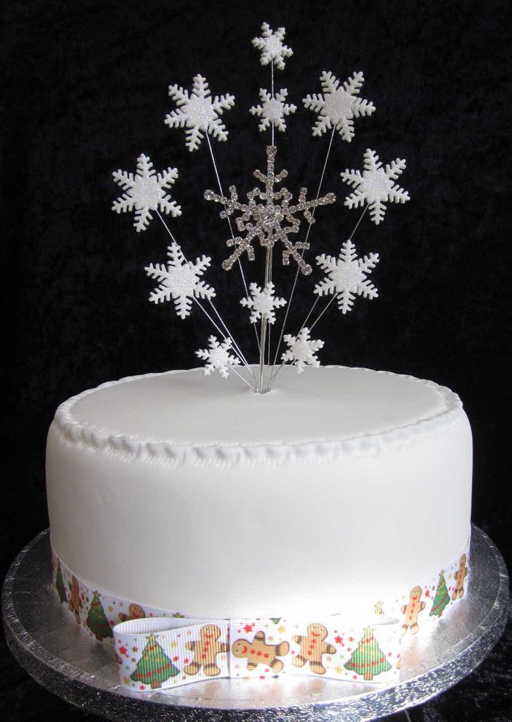 Diamante Snowflake Cake Topper With Glittered Snowflakes