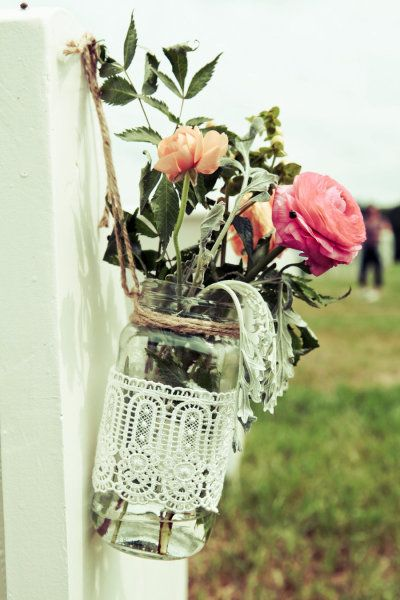 lace wrapped glass jar with twine hanger for aisle decor