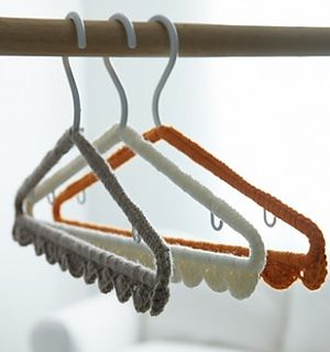 Easy to make hanger covers to bring a charming touch to your home. (Yarnspirations)