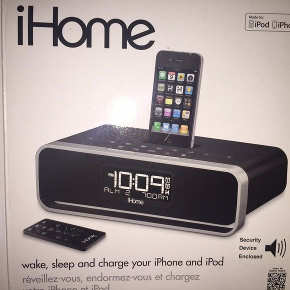iHome Black iHome for iphone 4, or can be used as a radio station, alarm clock, charging dock etc. really good condition Other