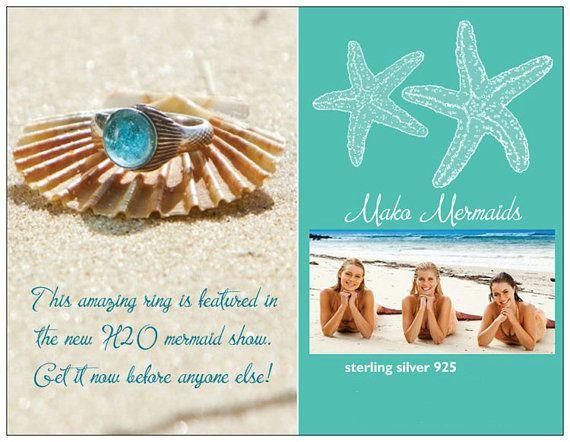 Mako Mermaid Ring Sterling Silver 925 Shell Box by thesilverart