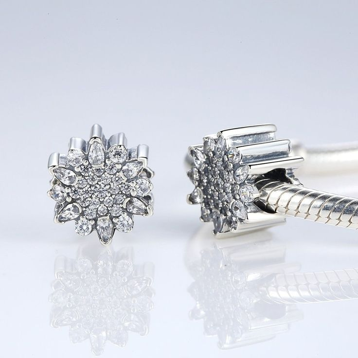 Charms   Silver Flower crystal Charm