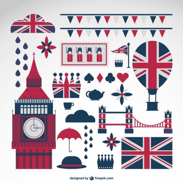 London coleção de símbolos do vetor Vetor grátis