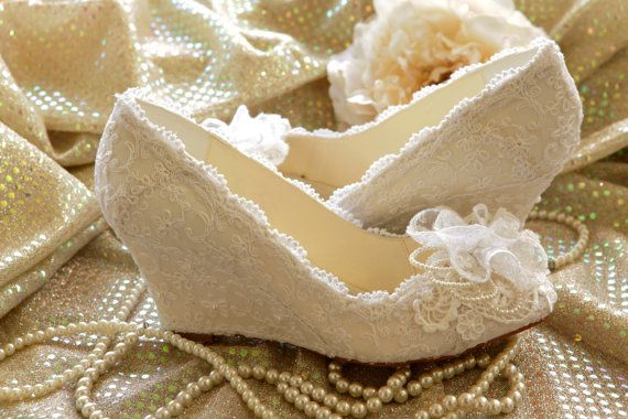 WeDDING LACe WEDGES  MADERIA Collection  Ivory by MaryMarryMe, $200.00