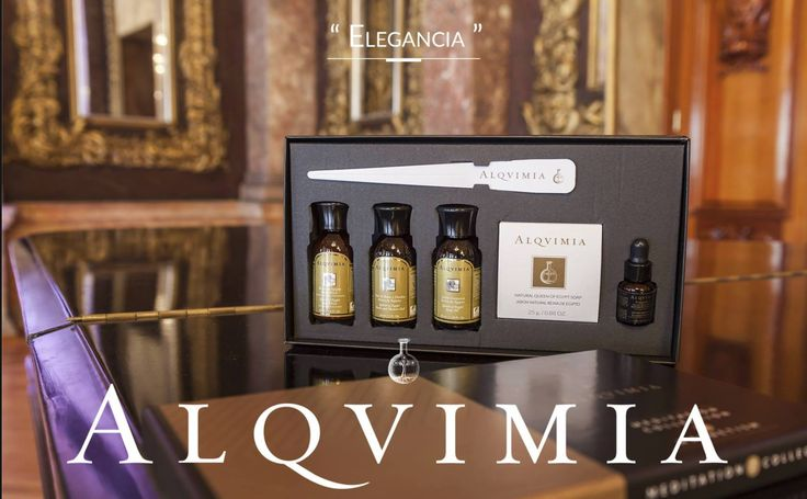Zestaw startowy Alqvimia magnetyzm, cztery mini kosmetyki z serii Królowa Egiptu, żel, balsam, mydełko i mieszanka olejków eterycznych z do medytacji.