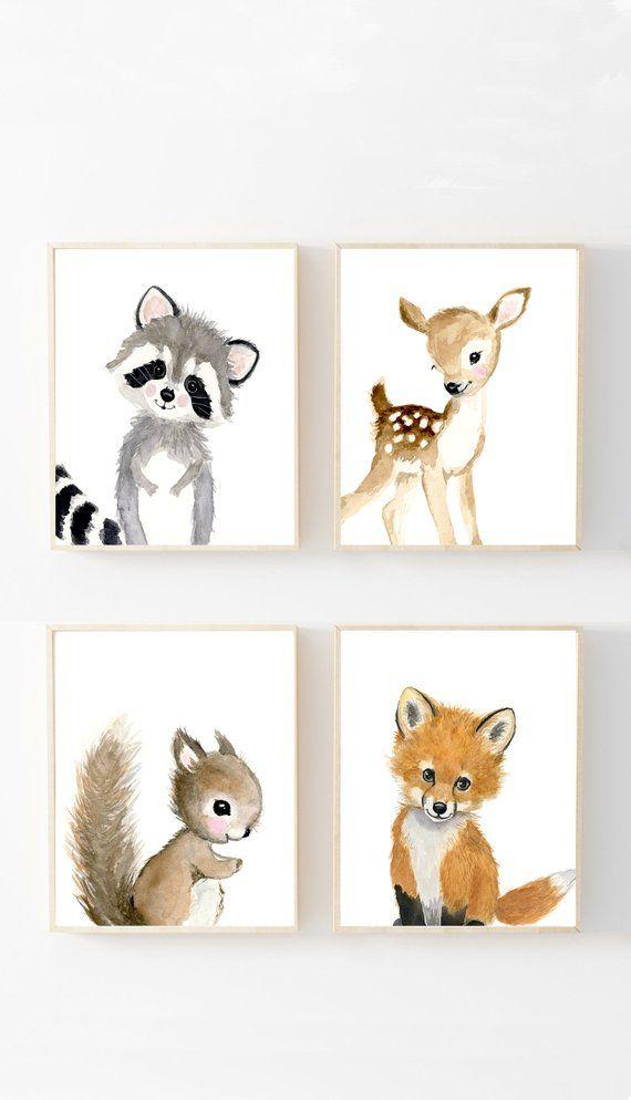 Nursery Woodland Print Set of 4, Nursery Art, Nursery Decor, Kids, nursery art, squirrel, rabbit, deer, raccoon, woodland nursery prints