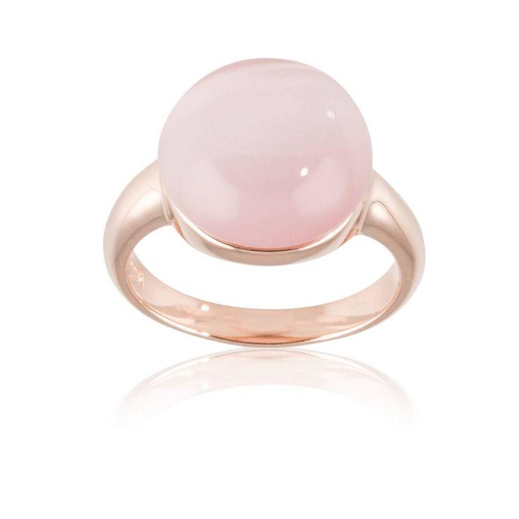 Beautiful! Deze rosegouden ring met roze cats eye steen