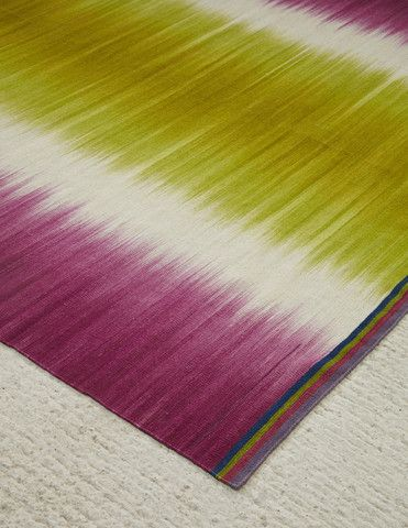 Lime Pink Colourfield - Flatweave Gelim rug by Ptolemy Mann