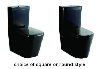Choice of Square or Round Black Gloss Ceramic Back to Wall Soft Close seat P or S Trap toilet  Wall Faced Toilet Suites Standard S-trap:60-170mm P-trap:180mm Universal Inlet Soft Closing Duraplas seat  4.5/3 Litres dual flush from Bathrooms and Kitchens Builders Express Underwood, website www.bathroomsnkitchens.com.au