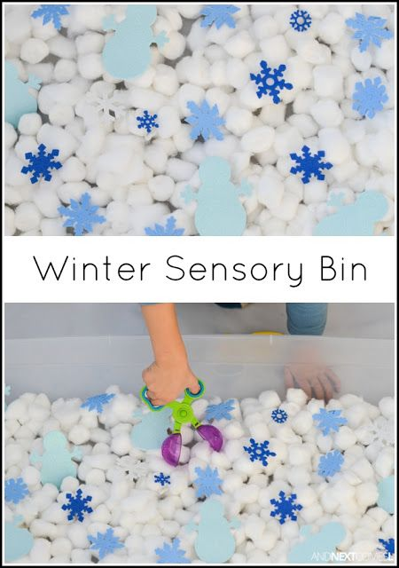 Easy winter sensory bin for kids from And Next Comes L