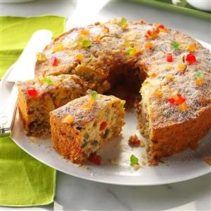 "Coconut Fruitcake Recipe -We live in a little community of 27—<I>if</I> everyone's home! A neighbor game this recipe when we first moved here, saying it dated back to the 1800""s and everybody in the area made it. I soon discovered why when I took a taste...and I'm not a fruit cake fan!    My husband, who's the inventor of a three-point bale mover, and I have a grown son. I'm a crafter and collector."