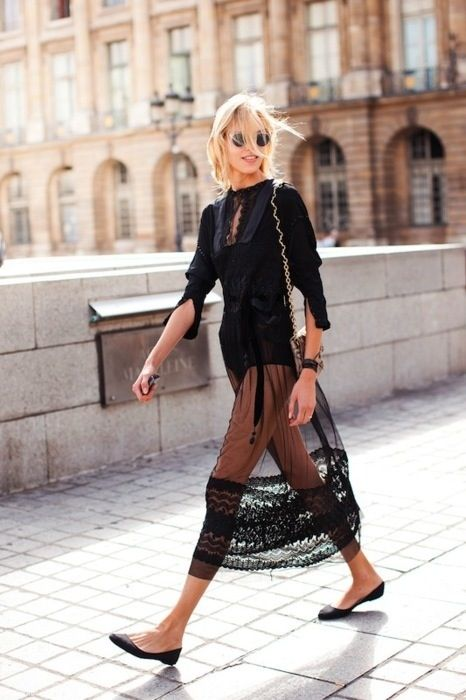Black lace long skirt over black one piece long leevebody suit