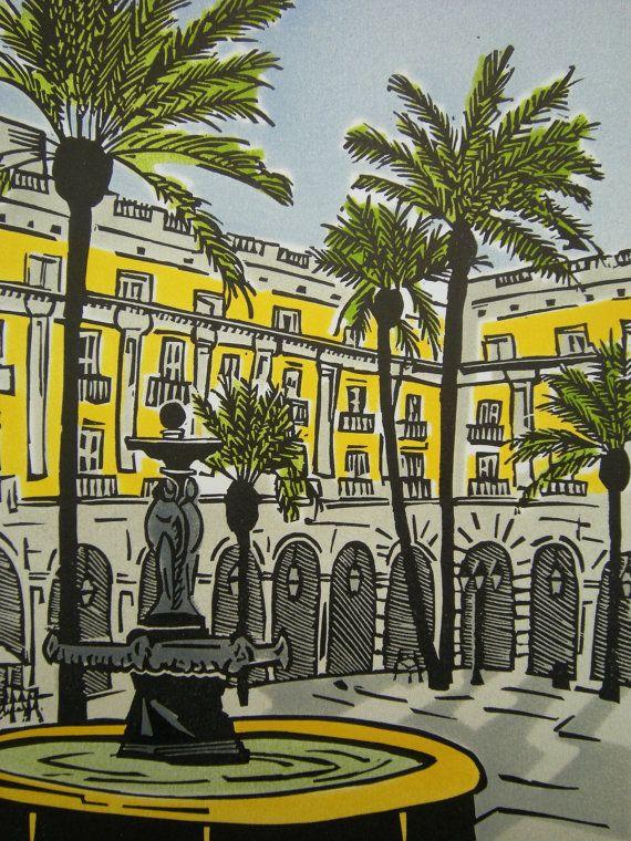 Barcelona, Spain linocut print,