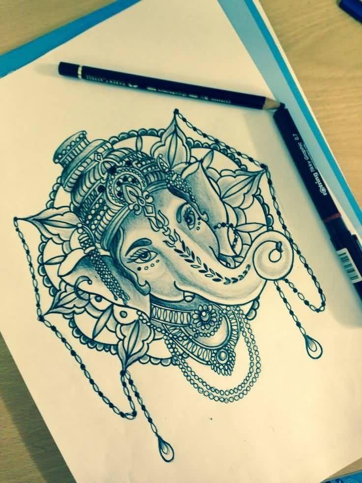 Unique Ganesha Head Tattoo Design