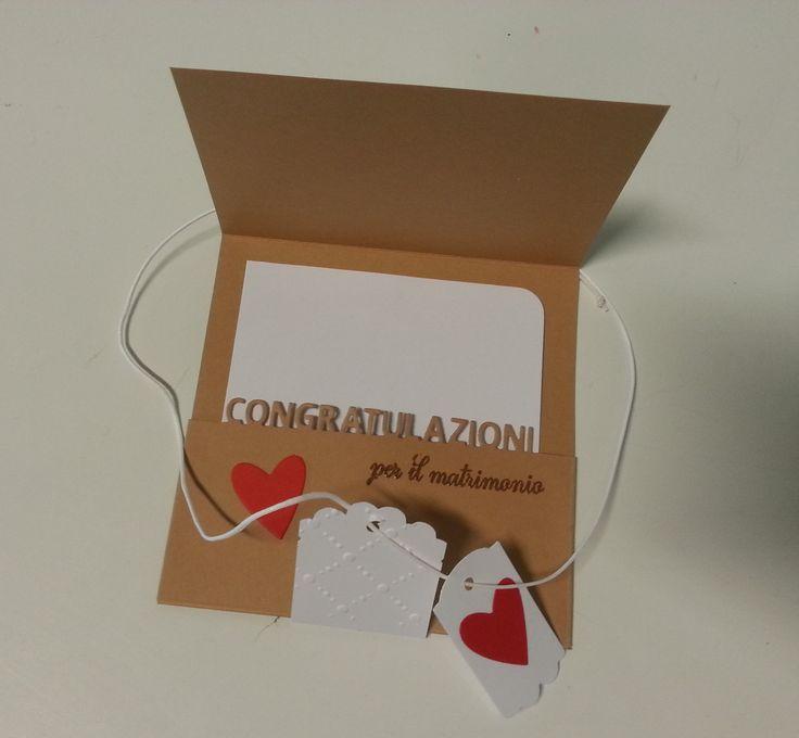 """Biglietto per un matrimonio con la fustella e il timbro di """"La Coppia Creativa"""" http://www.lacoppiacreativa.com/blog/"""