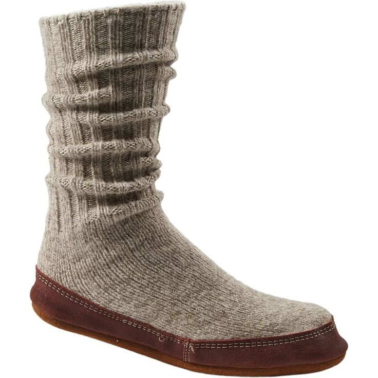 Acorn - Slipper Sock - Women's - Light Grey Ragg Wool