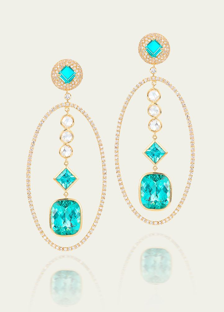 Blue Tourmaline & Diamond Earrings from Tamsen Z