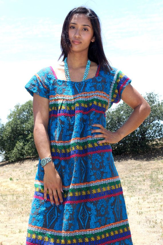 70's Guatemalan Hand Woven Vintage Dress Aztec Circa ~ 1970s
