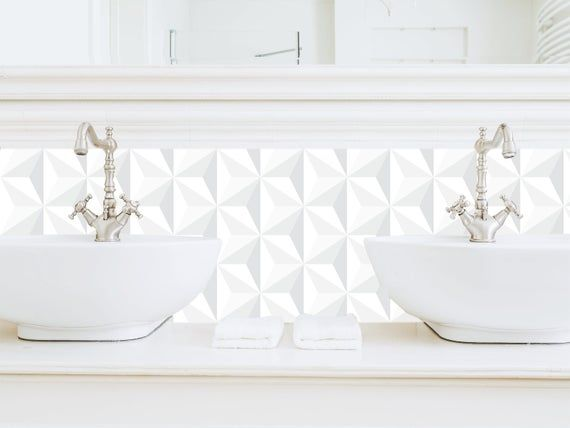 Credence Adhesive Repositionnable Origami Etsy Modern Kitchen Backsplash Kitchen Splashback Kitchen Tiles Design
