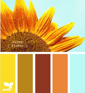 SunflowersWall Colors, Design Seeds, Color Schemes, Living Room, Colors Palettes, Wedding Colors, Families Room, Summer Colors, Kitchens Colors Schemes