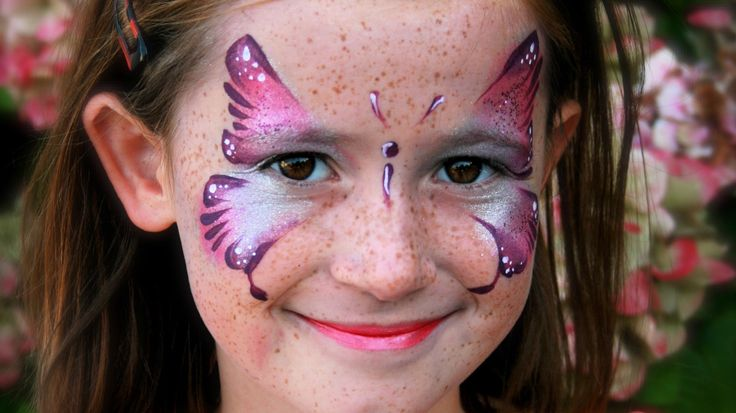 Pink Butterfly face painting tutorial - Pink butterfly makeup