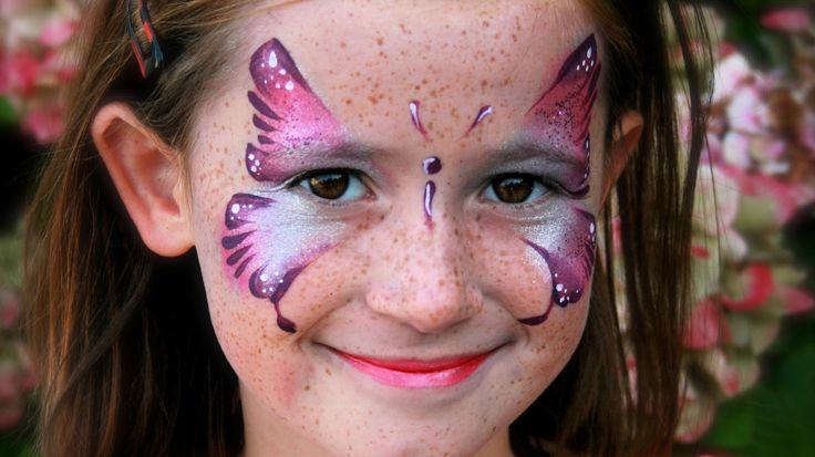 Rosa Schmetterling schminken / Schmetterling Kinderschminken Vorlage / V...