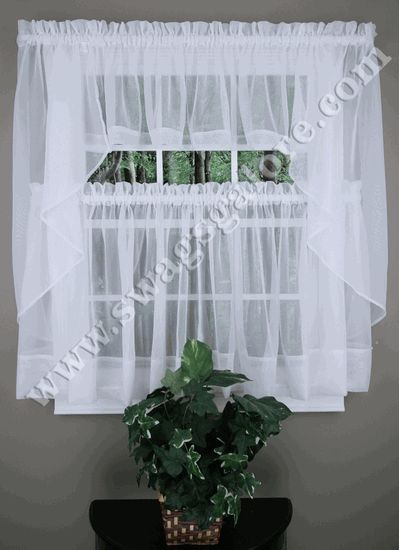 Elegance Sheer Voile Swag Pair Tier Curtain Panel Insert Valance In Colors And Styles For Every Window