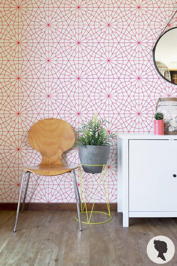 Geometric Flower Wallpaper / Removable Wallpaper or Regular Wallpaper Z011