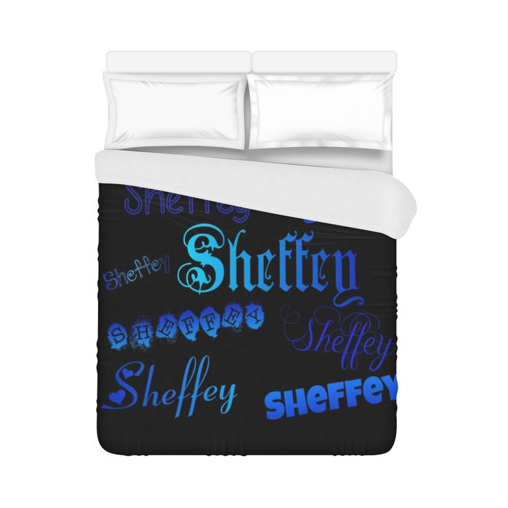 Sheffey Fonts - Shades of Blue on Black 040 Duvet Cover