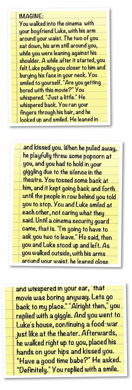 Imagine made for @starshine4ever. Sorry, I really don't know all that much about Luke. but tell me if you like it! You and Luke at the Cinema. Enjoy!
