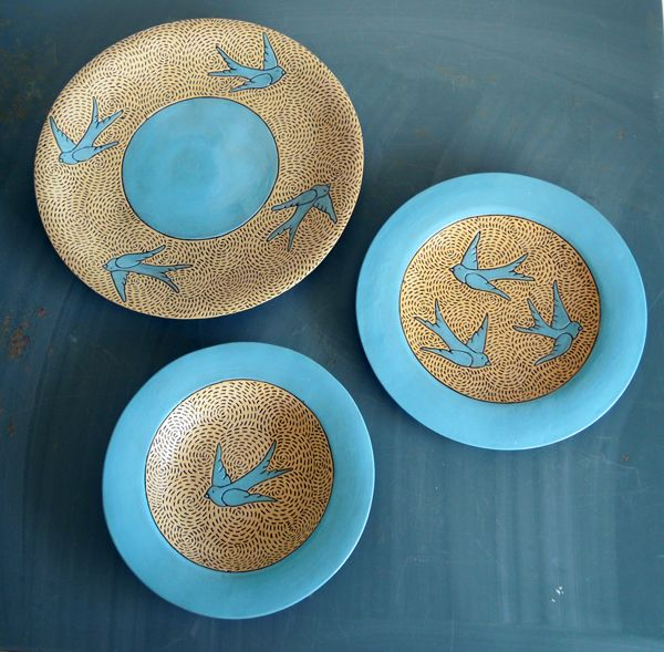Set of 3 blue bird plates