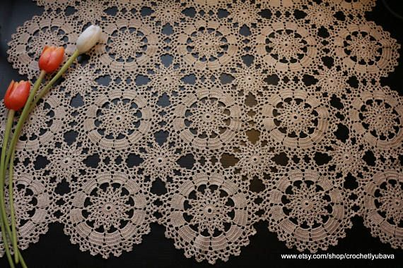 Crochet Square Tablecloth  Ecru Crochet Table Topper