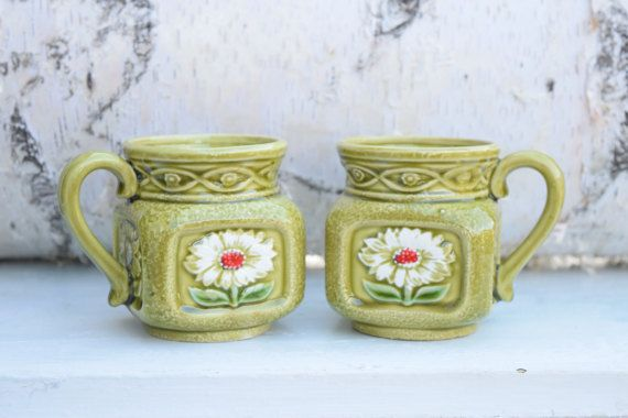 Daisy Mugs Square Mugs Gerber Daisies Green by SweetPetuniaVintage