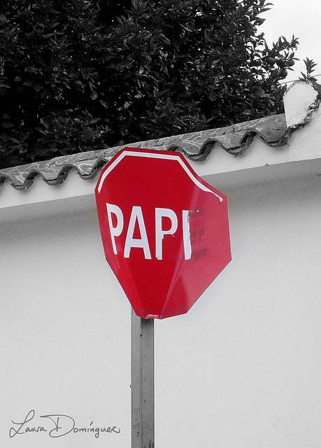 PAPI Señal de tránsito modificada  Modified STOP sign (as known as PARE), converting it into PAPI (daddy)  Tovar, Edo. Mérida, Venezuela