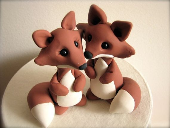 custom fox wedding cake topper by theaircastle on Etsy, $120.00