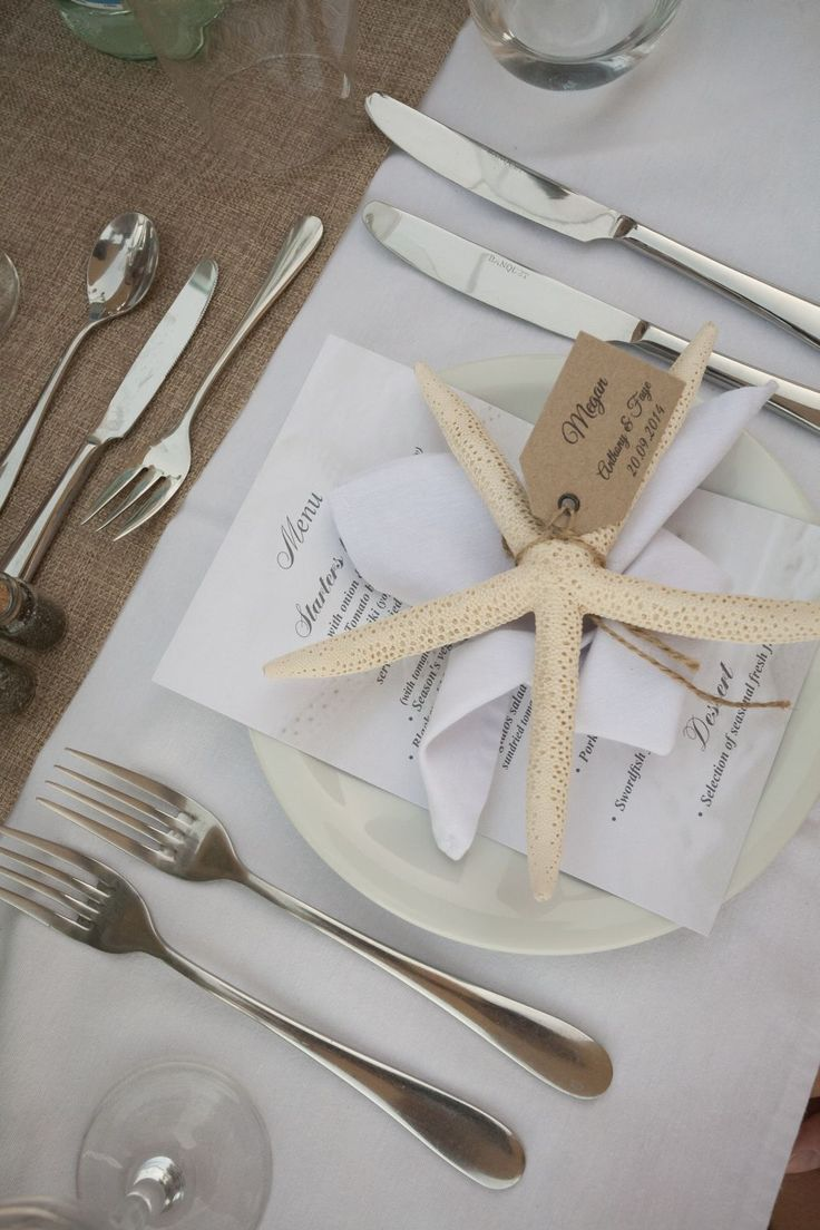 Gorgeous menu and place card combination which also gives the guest a beach inspired gift!