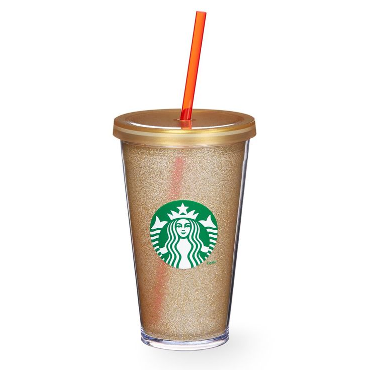 A sturdy, Grande-size plastic Cold Cup with a gradient gold inner liner, gold lid and reusable straw.