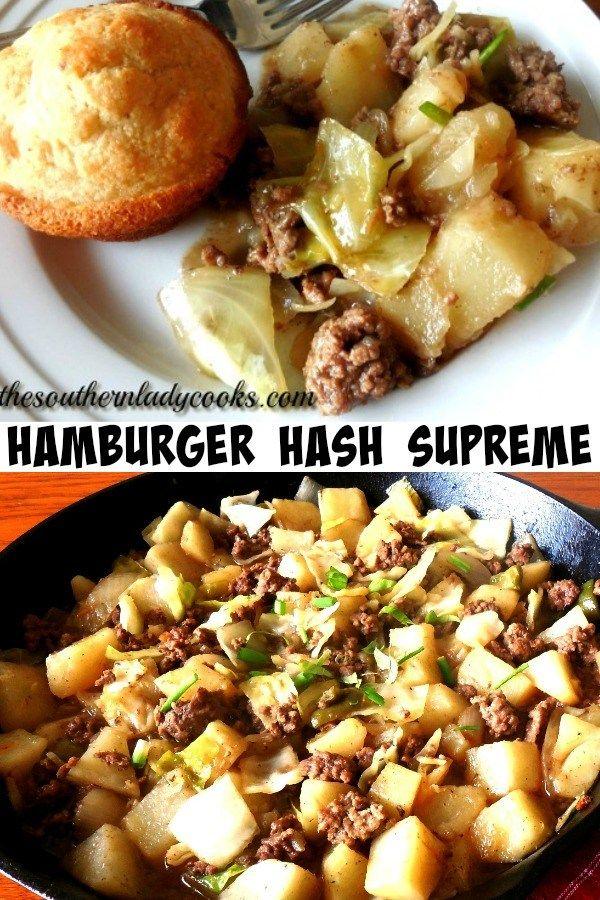 Hamburger Hash The Southern Lady Cooks Hamburger Hash Hamburger And Cabbage Recipe Hamburger And Potatoes