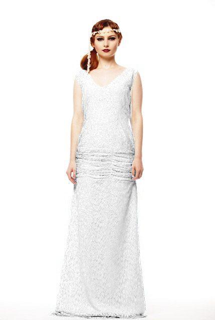 Flapper Wedding Lace Dress Great Gatsby 1920 Wedding Dress 20s