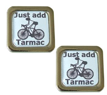 Cycling Cufflinks Just Add Tarmac - rack up the miles.