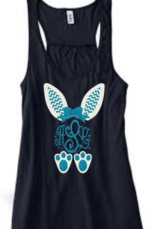 Easter bunny monogram 2 color glitter vinyl t-shirt by AbbysClosetTX on Etsy https://www.etsy.com/listing/265247854/easter-bunny-monogram-2-color-glitter