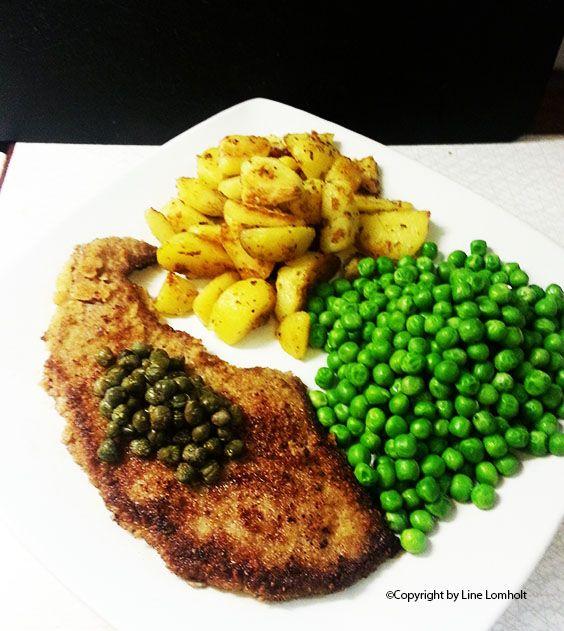 Wienerschnitzel og brasede kartofler