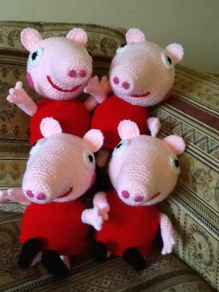 Handmade Peppa Pig Dolls. Buy them here - https://www.facebook.com/CBKnits
