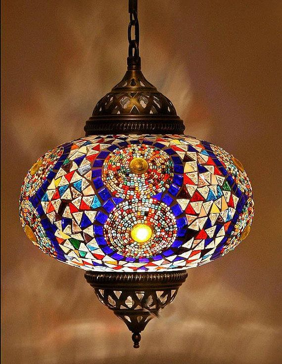 Handmade Colourful Mosaic Lamp Turkish Chandelier